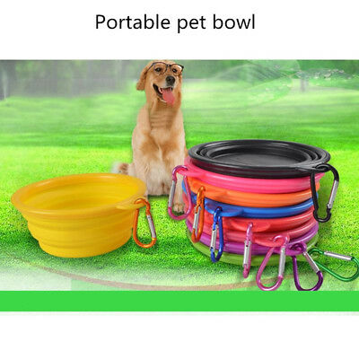 Travel Folding Silicone Pet Dog Cat Feeding Food Bowl Cup with Carabiner