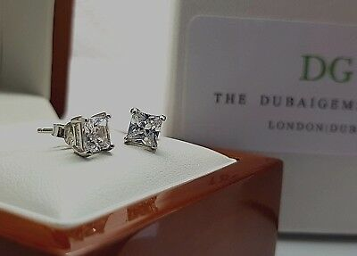 White gold finish Princess cut created diamond 5mm stud earrings