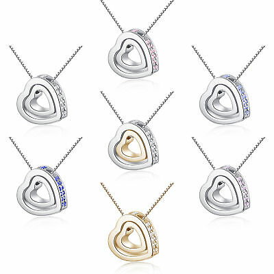Womens spinner pink heart pendant crystal white gold filled necklace jewelry