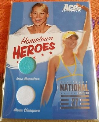 HOMETOWN HEROES SHARAPOVA KOURNIKOVA jersey card Ace Authentic #930/1200 NAT-27
