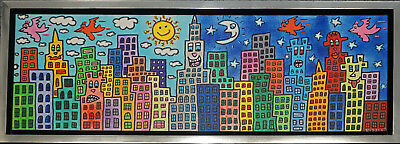 "James Rizzi Leinwand ""My candy-colored city of love"" gerahmt original Zertifikat"