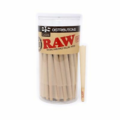 RAW Classic King Size Pure Hemp Pre-Rolled Cones With Filter (100 Pack)