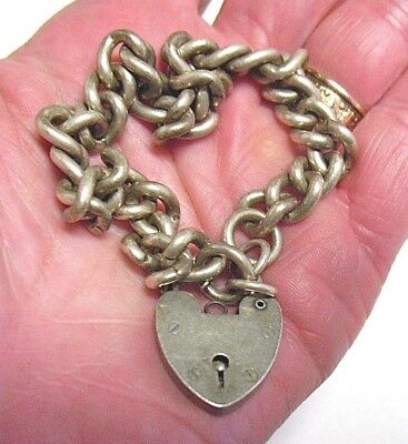 Antique Vintage Sterling Silver Charm Bracelet With Lock Charm Clasp 35.9 Grams