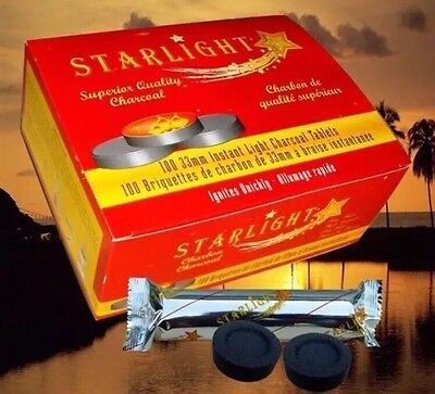 100 Pcs STARLIGHT Hookah instant Charcoal Quick Lite coal For Al Faker Starbuzz