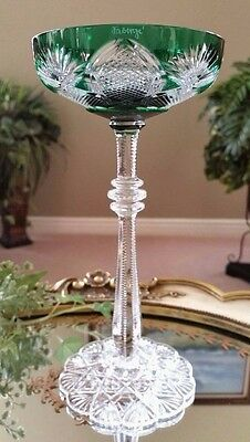 FABERGE Imperial CZAR TSAR Green Cut to Clear Crystal Champagne Saucer SIGNED