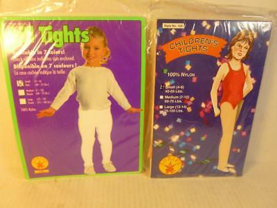New in Pkg 2 Pair Girls Tights White and Nude Color Size 4-6 40-55 lbs USA KS007