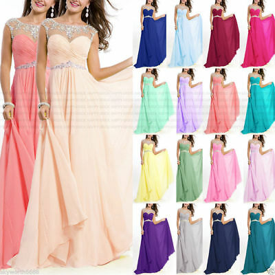 New Chiffo Formal Evening Prom Party Dress Bridesmaid Dresses Ball Gown Sz 6-16