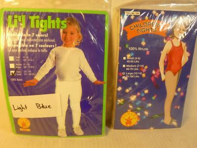 New 2 Pair Girls Tights Lite Blue and Beige Color Sz 12-14 75-100 lbs USA KS010