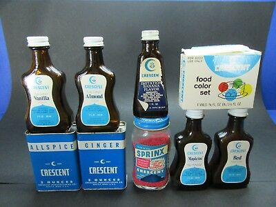Vintage Crescent Spice Tin Extract Bottle Food Color Lot of 9 Seattle WA  (230)