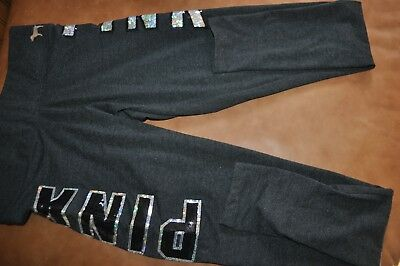 PINK Victorias Secret Gray Black Silver Sequin Bling Yoga Leggings SIZE S NEW