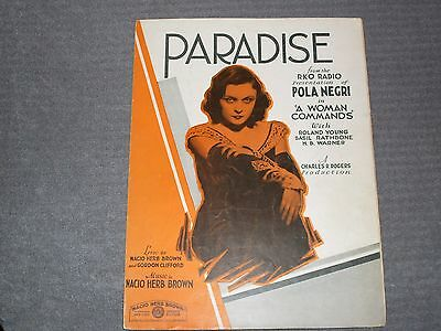 "Vintage Sheet Music. ""Paradise,"" 1931, Lyrics & music by Nacio Herb Brown."