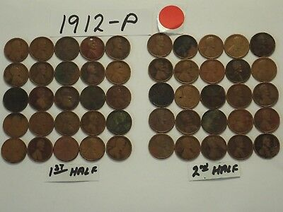 1912-P Solid Date Pennies=Roll 50 Lincoln Wheat Cents