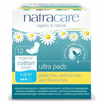 Natracare Cotton Natural Ultra Pads Super with Wings - 12 Count