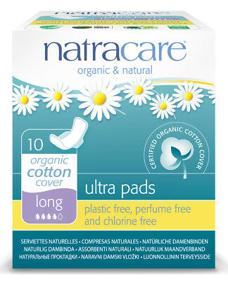 Natracare Cotton Natural Ultra Pads Long with Wings - 10 Count