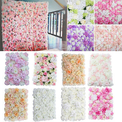 Artificial Rose Flower Wall Panel Home Wedding Backdrop Floral Decor 10 Styles
