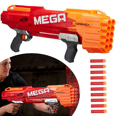 Mega TwinShock Nerf N-Strike Dart Guns Soft Darts Shootgun Blaster Rifle Toy Gun