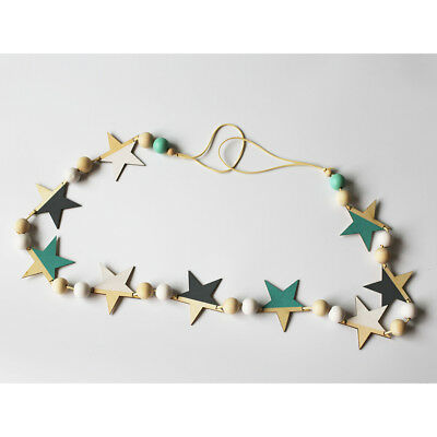 Wooden Star Beads Bunting Banner Pennant for Party Nursery Decoration #3