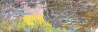 The Water Lilies Setting Sun by Claude Monet A1 High Quality Art Print