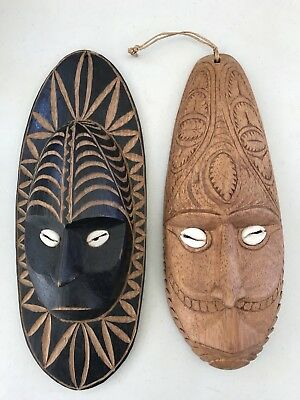 Vintage Pair 25-27cm Hand Carved Male Female African Tribal Wooden Face Masks
