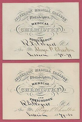 TWO Jefferson Medical College SIGNED Lecture TICKETS / Chemistry + Toxicology