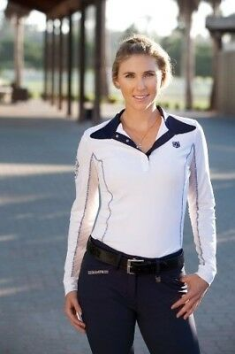 (X-Small, White) - Romfh Ladies Competitor LS Show Shirt. Delivery is Free