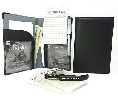 Black Restaurant Guest Check Presenter/Waiter Book Server Organizer & Wine Key