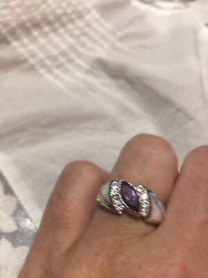 Antique Genuine Purple Amethyst Vintage 925 Sterling Silver Deco Opal Inlay Ring
