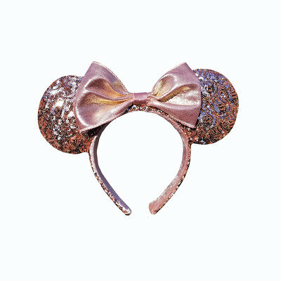 Disney Parks Rose Gold Minnie Mouse Ears with Bow Headband Valentines Day NEW