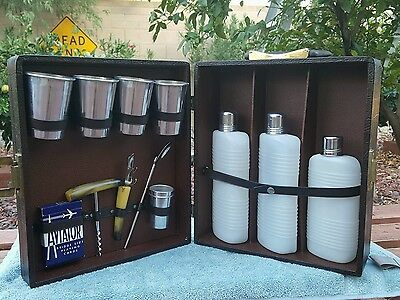 vintage portable traveling bar kit with 3 plastic flask