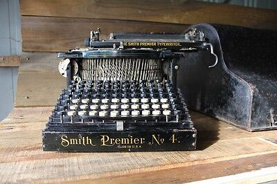 Antique Smith Premier No. 4 Typewriter Upstrike Understrike Keys Remington