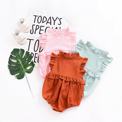 Newborn Baby Girl Ruffle Romper Jumpsuit Bodysuit Clothes Outfit Summer UK Stock