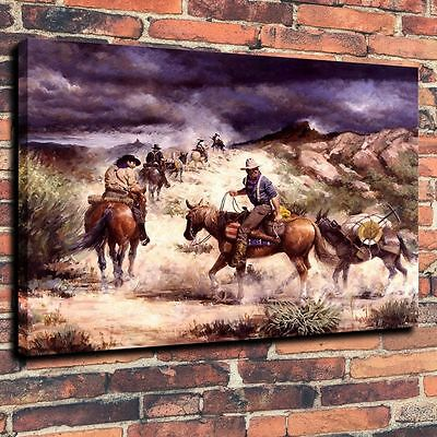 Art Quality Canvas Print, Oil Painting,Western, Stormy Sky16x20