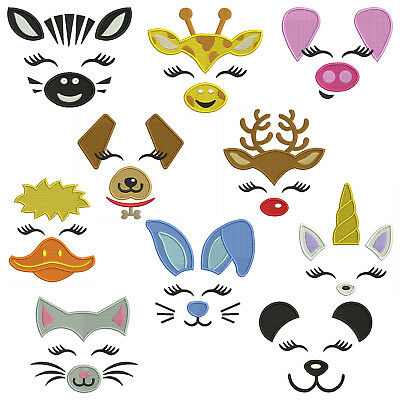 ANIMAL FACES * Machine Embroidery Patterns * 10 Designs in 4 sizes