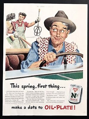 1948 Vintage Print Ad 40's CONOCO Nth Motor Oil Illustration Art Man Driving