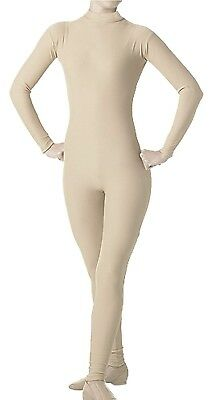 (Large, Nude) - Adult's Mock Long Sleeve Unitard in Nude S, M, L XL, 1X, 2X, 3X