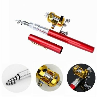 (Red) - Dealzip Inc 100cm Mini Portable Pocket Aluminium Alloy Fishing Rod