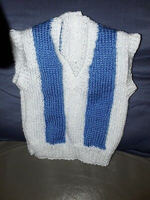 HAND KNITTED NORTH MELBOURNE KANGAROOS  FOOTBALL BABY VEST 0-3 Months