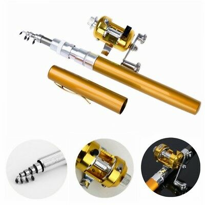 (Gold) - Dealzip Inc 100cm Mini Portable Pocket Aluminium Alloy Fishing Rod