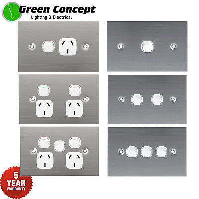 Flat 1mm Solid Stainless Steel Silver Light Switch Double Power Point GPO White