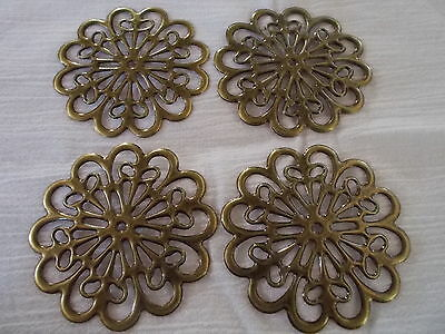 lot of 4 x round metal flower embellishments , anitque bronze colour, 6cm x 6xm