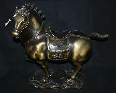 "24"" Collection Chinese Pure Bronze Lucky Zodiac Horse success Statue"