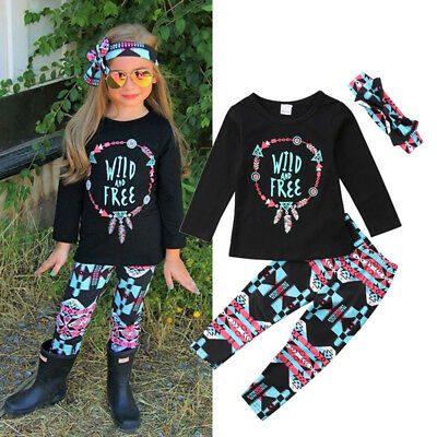 AU Stock Toddler Girls Kids Floral Tops Pants Headband 3Pcs Outfits Set Clothes