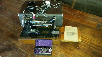 vintage 1939 singer sewing machine with case and electric and original manual