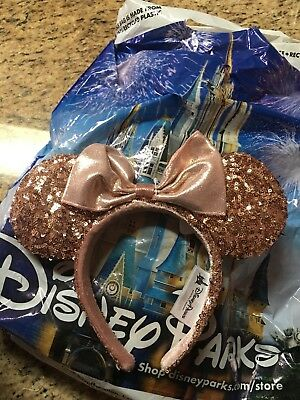SOLD OUT Disney Parks Authentic ROSE GOLD Minnie Mouse Ears NWT READY TO SHIP