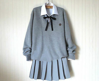 Anime Japanese School Girl Sailor Gray Uniform Cosplay Costume Dress