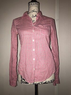 97d5e383 Hollister Womens Plaid Checkered Button Down Shirt Sz Small Blouse Pink  White