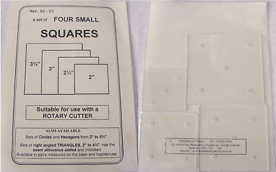 Patchwork Templates - Squares pack of FOUR  - made from 2mm thick Plastic