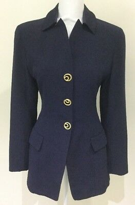Vintage COVERS AUSTRALIA Ladies Long Sleeved Blazer Jacket DESIGNER Size 10 Navy