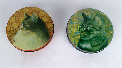 HUNKYDORY Lesley Anne Ivory 1989 Blue & Orange CAT TIN Container Pair ENGLAND