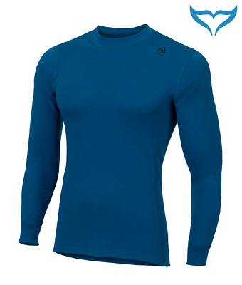 Aclima Warmwool Shirt Crew Neck M XL Merino Wool 200g Outdoor blue sapphire blau